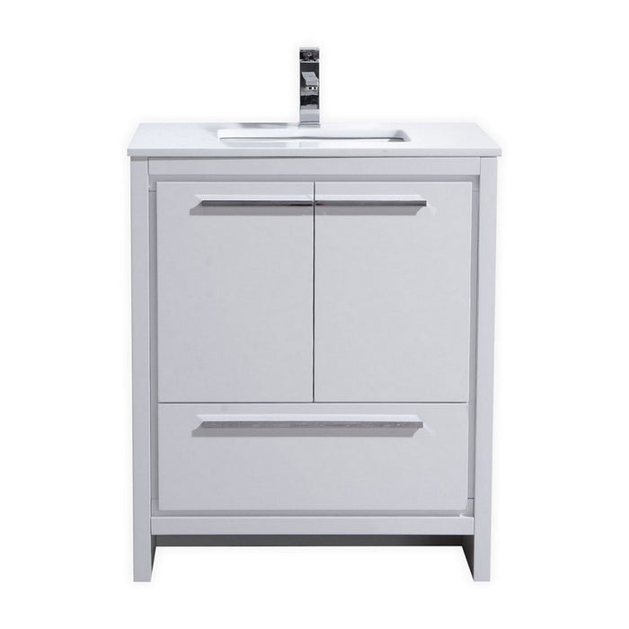 "Dolce 30"" Modern Vanity With White Quartz Countertop by KubeBath"