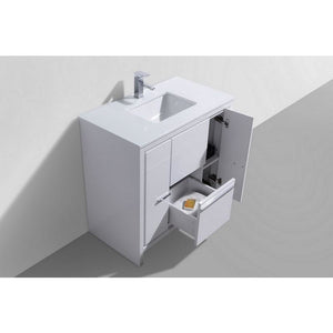 "Dolce 36"" Modern Vanity With White Quartz Countertop by KubeBath"