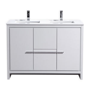 "Dolce 48"" Double Sink Modern Vanity With White Quartz Countertop by KubeBath"