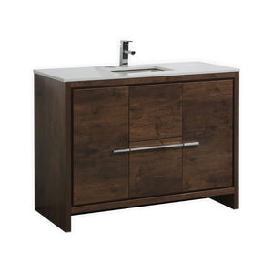 "Dolce 48"" Modern Vanity With White Quartz Countertop by KubeBath"