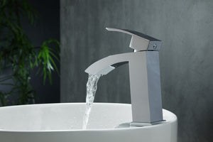 Aqua Balzo Single Lever Vanity Faucet in Chrome by KubeBath