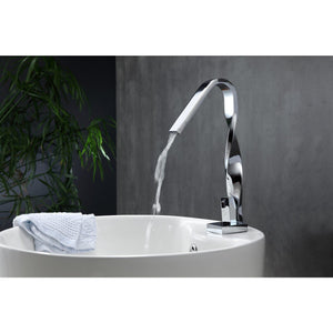 Aqua Riccio Single Lever Vanity Faucet in Chrome by KubeBath