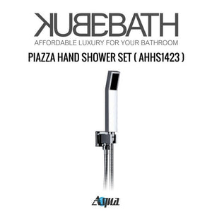 "KubeBath Aqua Piazza Shower Set with 8"" Square Rain Shower, 4 Body Jets and Handheld"