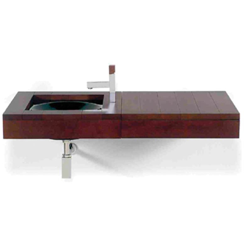 Whitehaus Antonio Miro Large Iroko Wood Wall Mount Counter Top Unit with Integral Drawer
