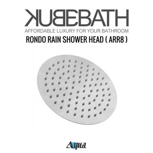 "KubeBath Aqua Rondo Shower Set W/ 8"" Ceiling Mount Round Rain Shower, Handheld And Tub Filler"