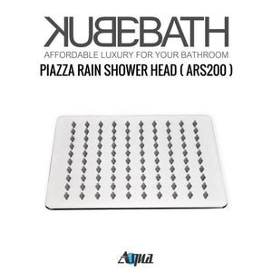 "KubeBath Aqua Piazza Shower Set with 8"" Ceiling Mount Square Rain Shower, Handheld And"