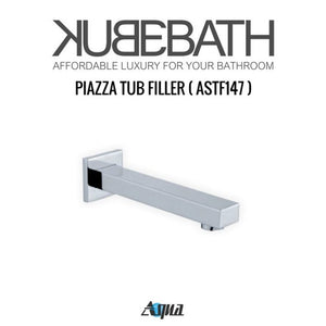 "KubeBath Aqua Piazza Shower Set with 8"" Ceiling Mount Square Rain Shower, Tub Filler and 4 Body Jets"