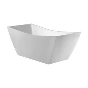 White Acrylic Rectangle Freestanding Soaker Bathtub - Barclay Tanya - 71 in