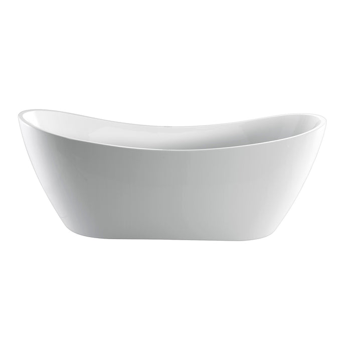 White Acrylic Oval Freestanding Soaker Bathtub - Barclay Nyx - 72 in