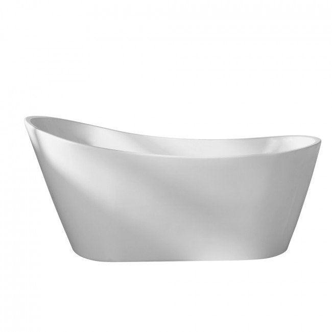 White Acrylic Oval Freestanding Soaker Bathtub - Barclay Lydia - 65 in