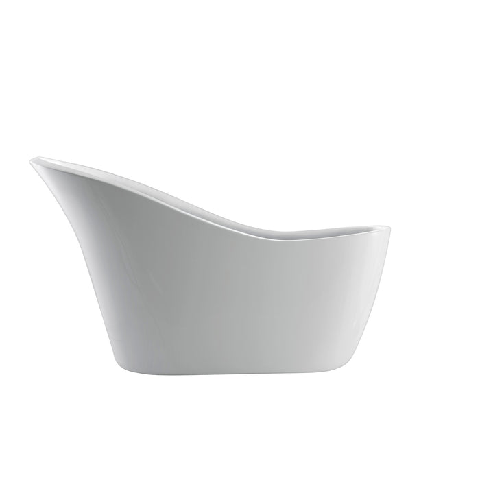 White Acrylic Oval Freestanding Slipper Bathtub - Barclay McGuire - 70 in