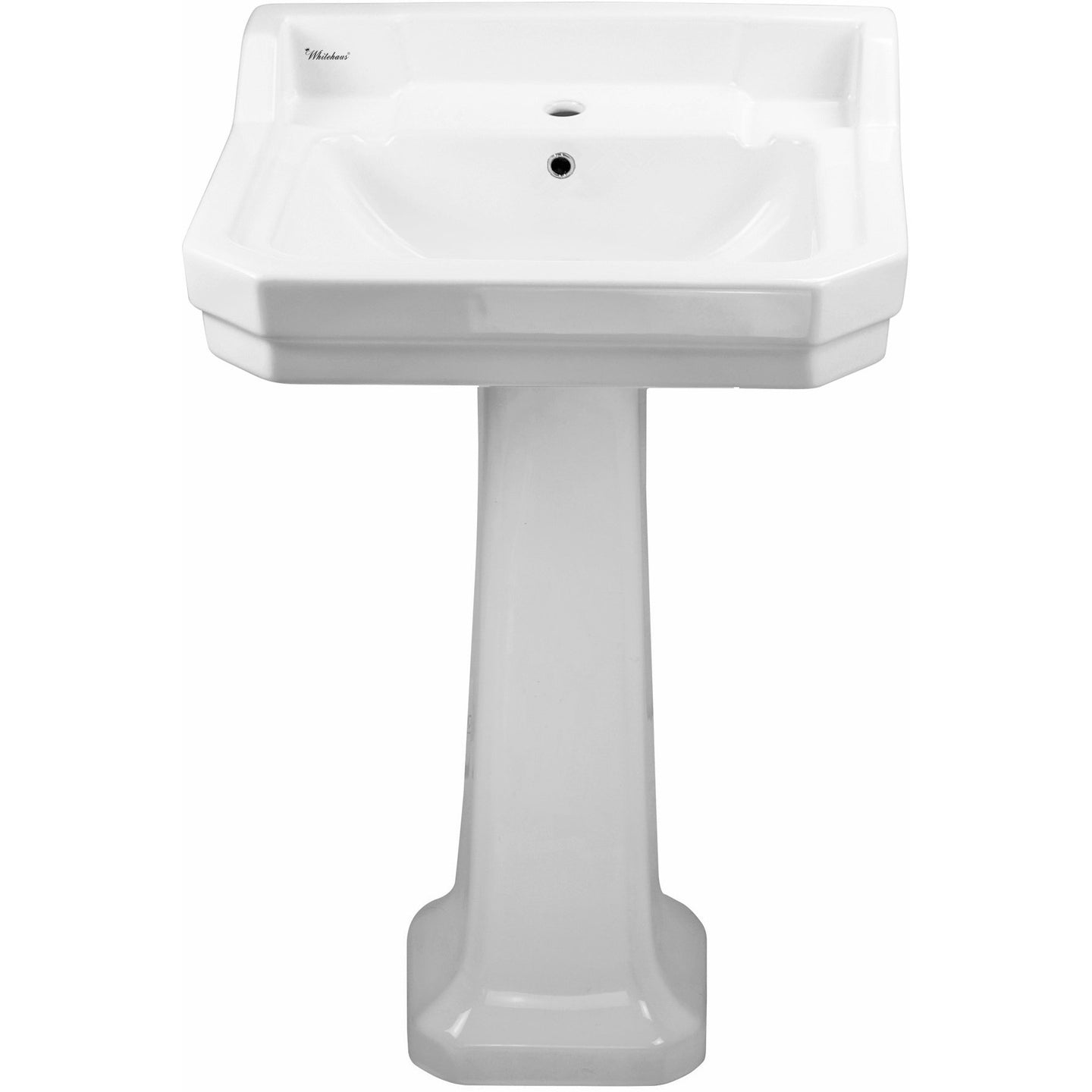 Whitehaus Isabella Collection Traditional Pedestal with Integrated Rectangular Bowl, Backsplash, Dual Soap Ledges, Decorative Trim and Overflow