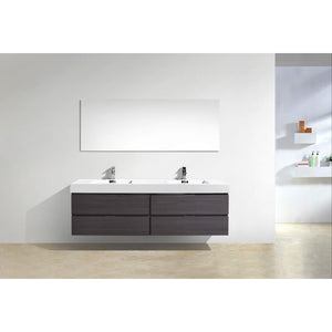 "Bliss 80"" Wall Mount Double Sink Modern Vanity by KubeBath"