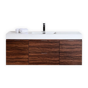 "Bliss 60"" Wall Mount Single Sink Modern Vanity by KubeBath"