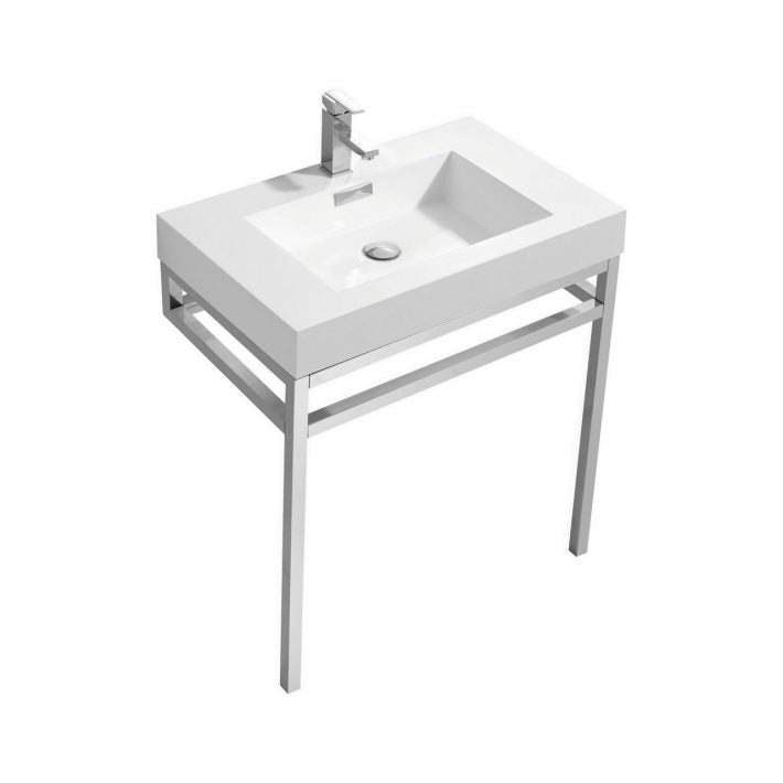 "KubeBath Haus 30"" Stainless Steel Console W/ White Acrylic Sink - Chrome"