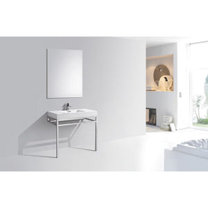 "KubeBath Haus 36"" Stainless Steel Console W/ White Acrylic Sink - Chrome"