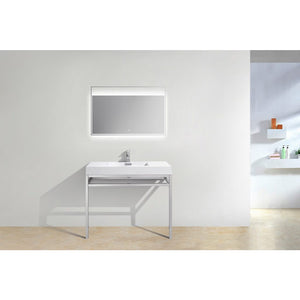 "KubeBath Haus 40"" Stainless Steel Console W/ White Acrylic Sink - Chrome"