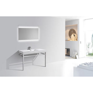 "KubeBath Haus 48"" Stainless Steel Console W/ White Acrylic Sink - Chrome"
