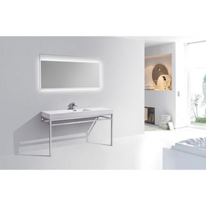 "KubeBath Haus 60"" Single Sink Stainless Steel Console W/ White Acrylic Sink - Chrome"