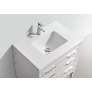 "KubeBath Eiffel 30"" White Vanity with Quartz Countertop"