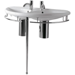 Whitehaus Isabella Collection Semi-Circular Double Basin China Console with Chrome Overflow, Polished Chrome Towel Rails and Leg Support