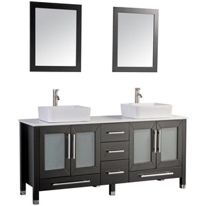 "MTD Vanities Malta 71"" Double Sink Bathroom Vanity Set, Espresso"
