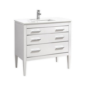 "KubeBath Eiffel 36"" White Vanity with Quartz Countertop"
