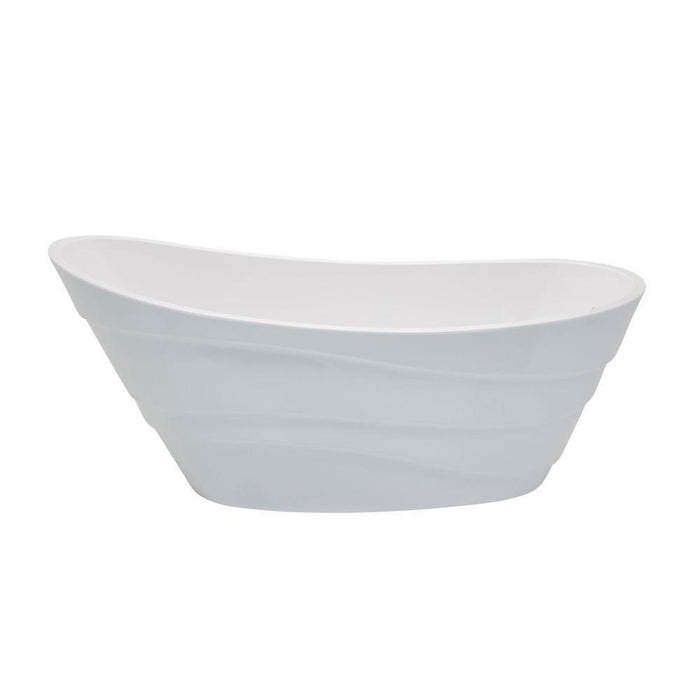 Glossy White Acrylic Oval Freestanding Bathtub - Anzzi Stratus - 67 in