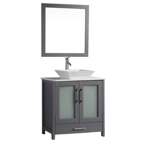"MTD Vanities Jordan 30"" Single Sink Bathroom Vanity Set, Grey"