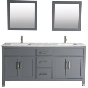 "MTD Vanities Ricca 72"" Double Sink Bathroom Vanity Set, Grey"