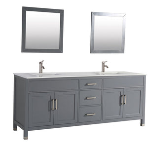"MTD Vanities Ricca 84"" Double Sink Bathroom Vanity Set, Grey"