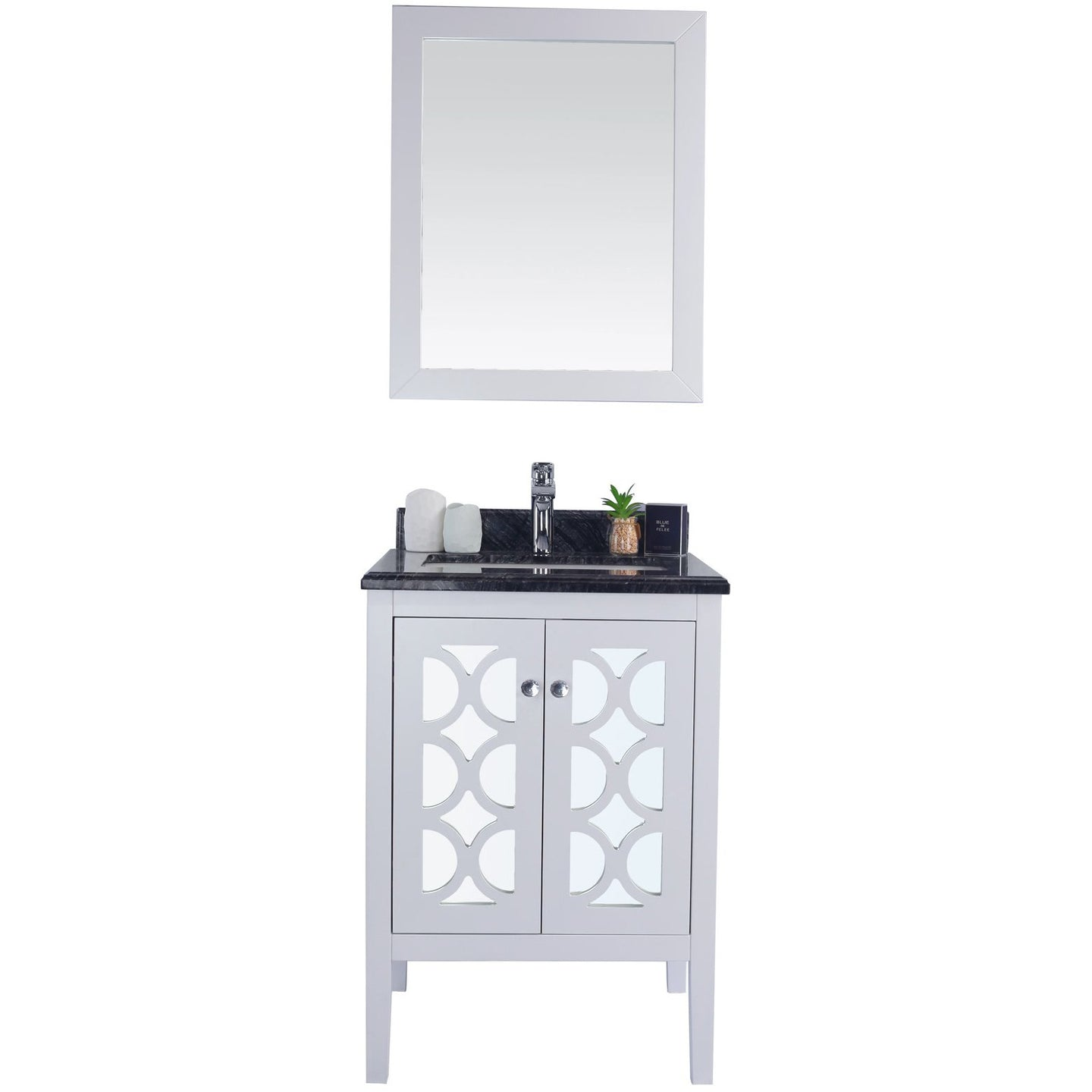 Mediterraneo - 24 - White Cabinet + Black Wood Counter by Laviva