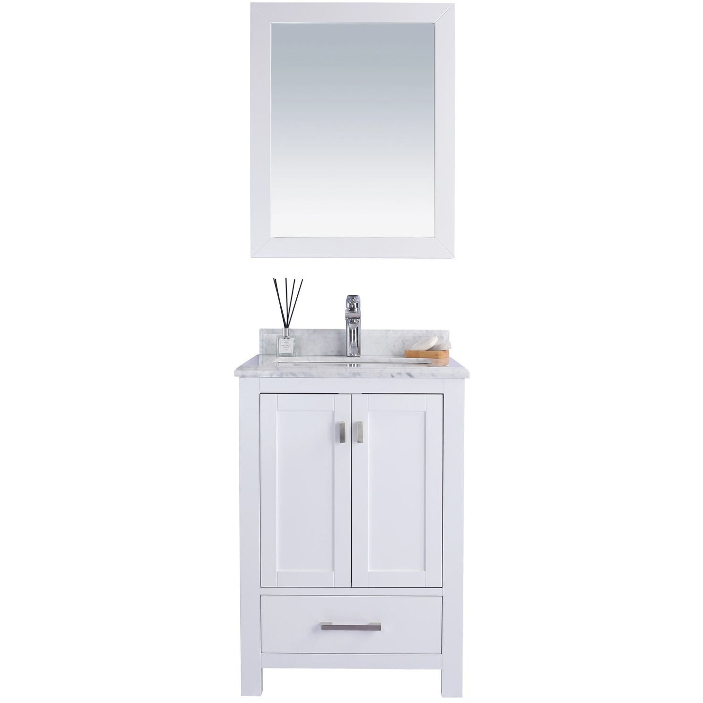 Wilson 24 - White Vanity and White Carrara Countertop by Laviva