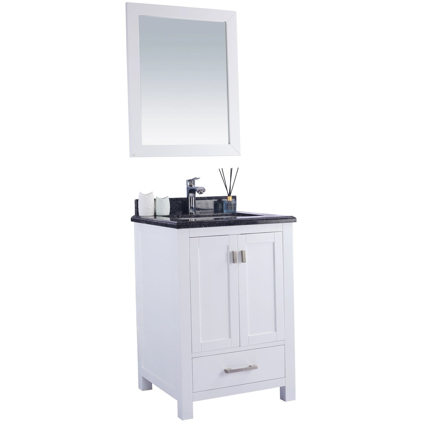 Wilson 24 - White Vanity and Black Wood Countertop by Laviva