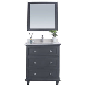 Luna - 30 - Maple Grey Vanity and White Quartz  Counter by Laviva