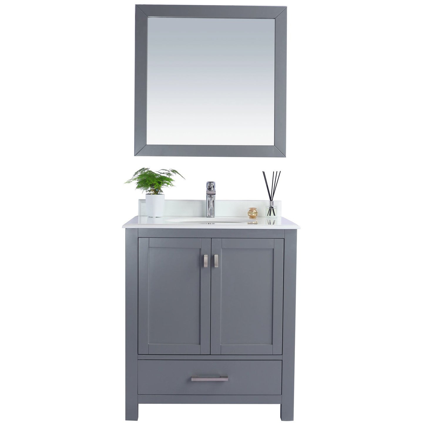 Wilson 30 - Grey Cabinet + Pure White Countertop by Laviva