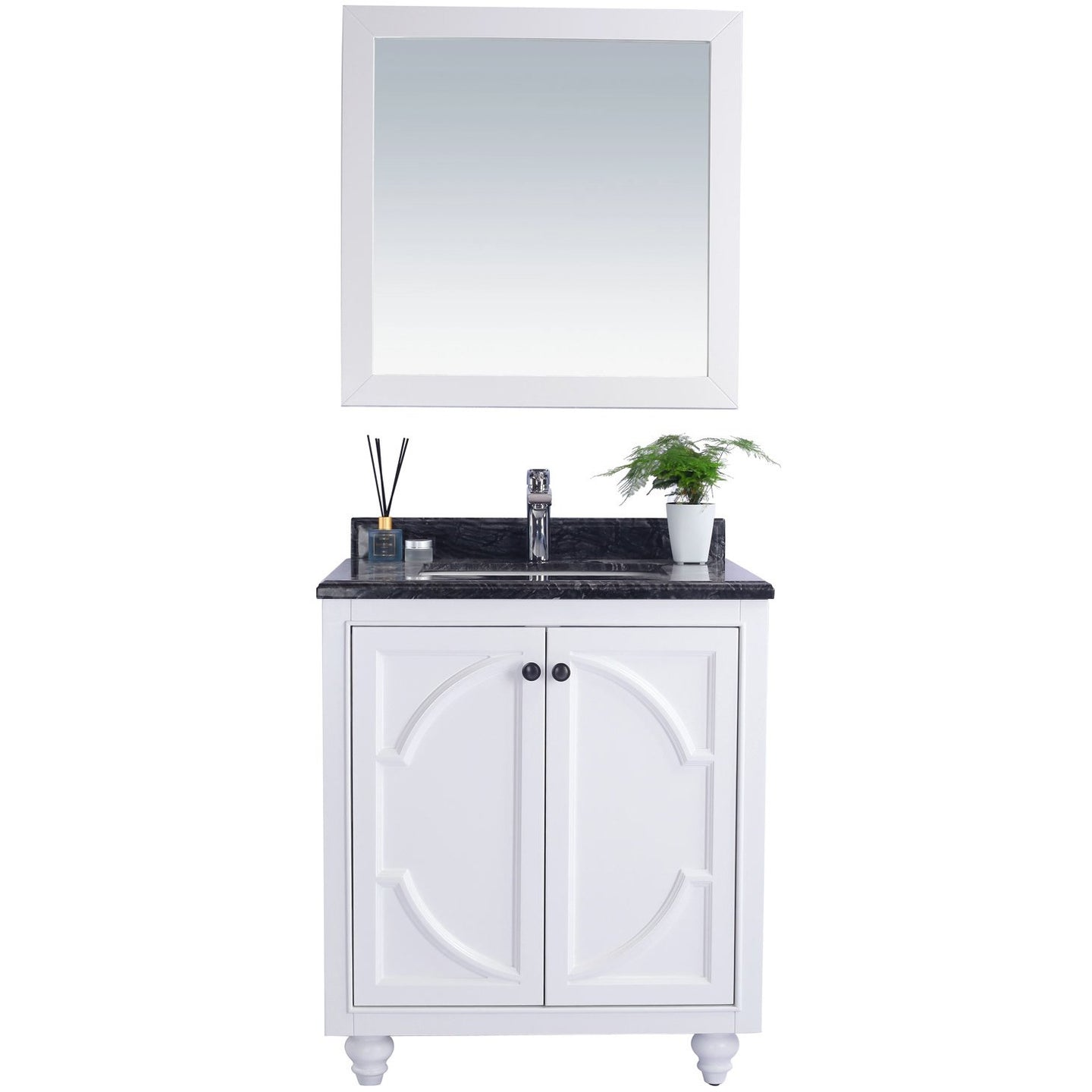 Odyssey - 30 - White Cabinet + Black Wood Counter by Laviva