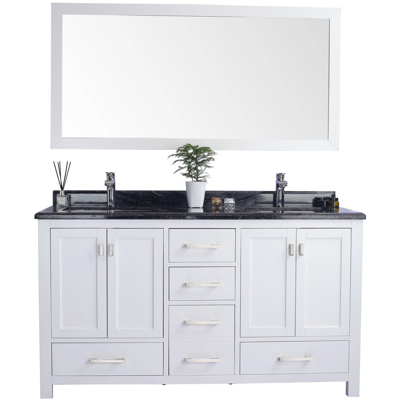 Wilson 60 - White Cabinet + Black Wood Countertop by Laviva