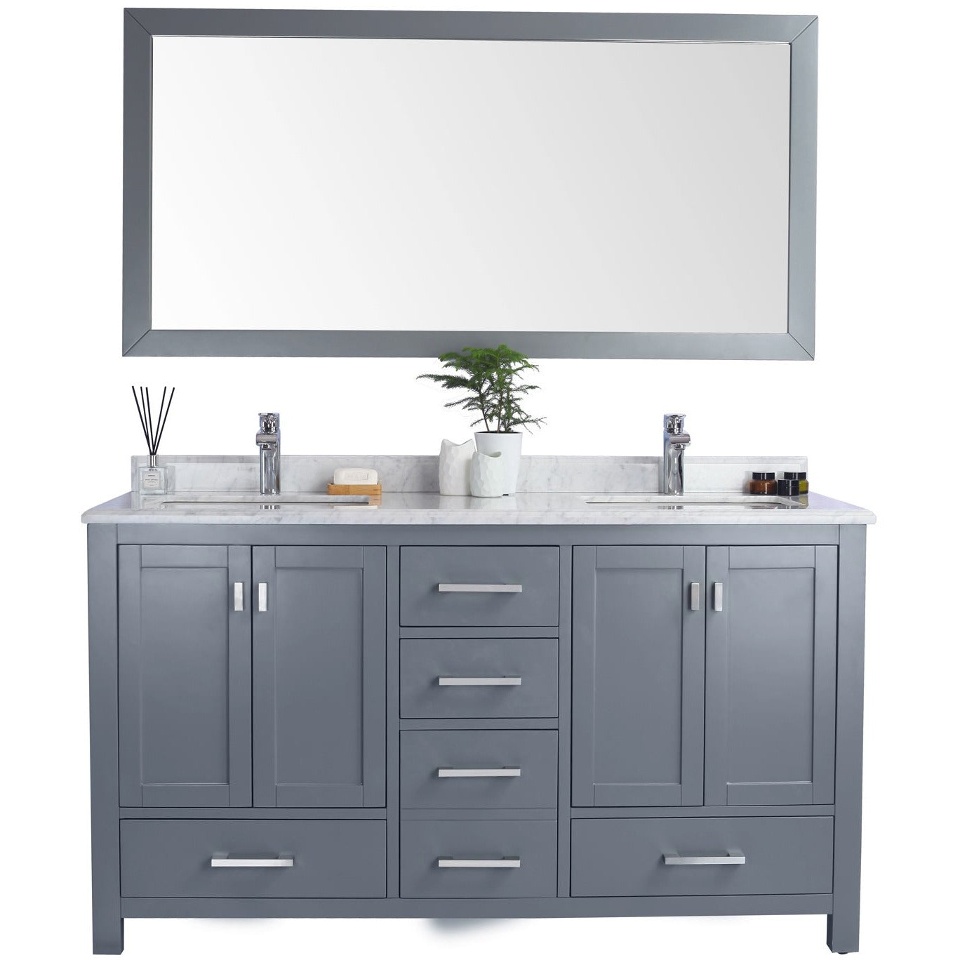 Wilson 60 - Grey Cabinet + White Carrara Countertop by Laviva
