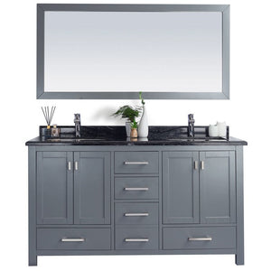 Wilson 60 - Grey Cabinet + Black Wood Countertop by Laviva