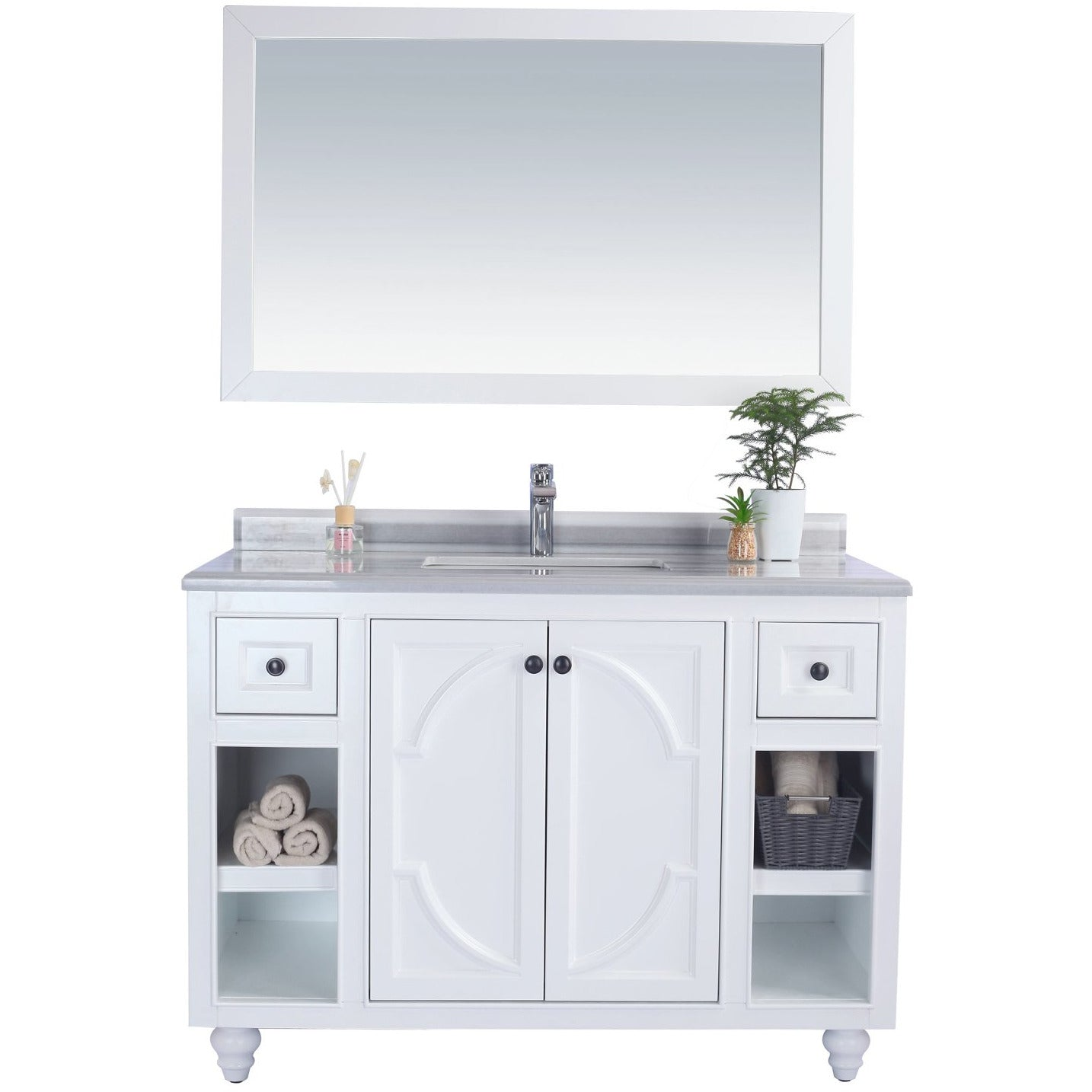 Odyssey - 48 - White Vanity and White Stripes Counter by Laviva