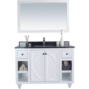 Odyssey - 48 - White Cabinet + Black Wood Counter by Laviva