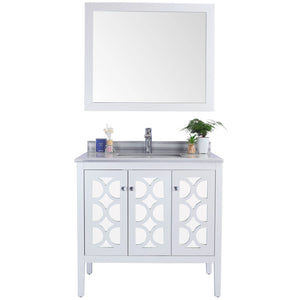 Mediterraneo - 36 - White Cabinet + White Stripes Counter by Laviva