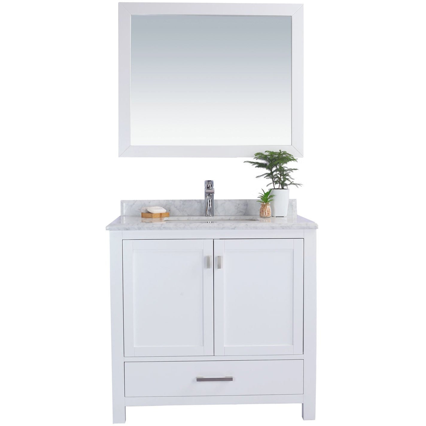 Wilson 36 - White Vanity and White Carrara Countertop by Laviva