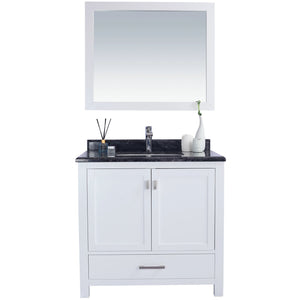 Wilson 36 - White Vanity and Black Wood Countertop by Laviva