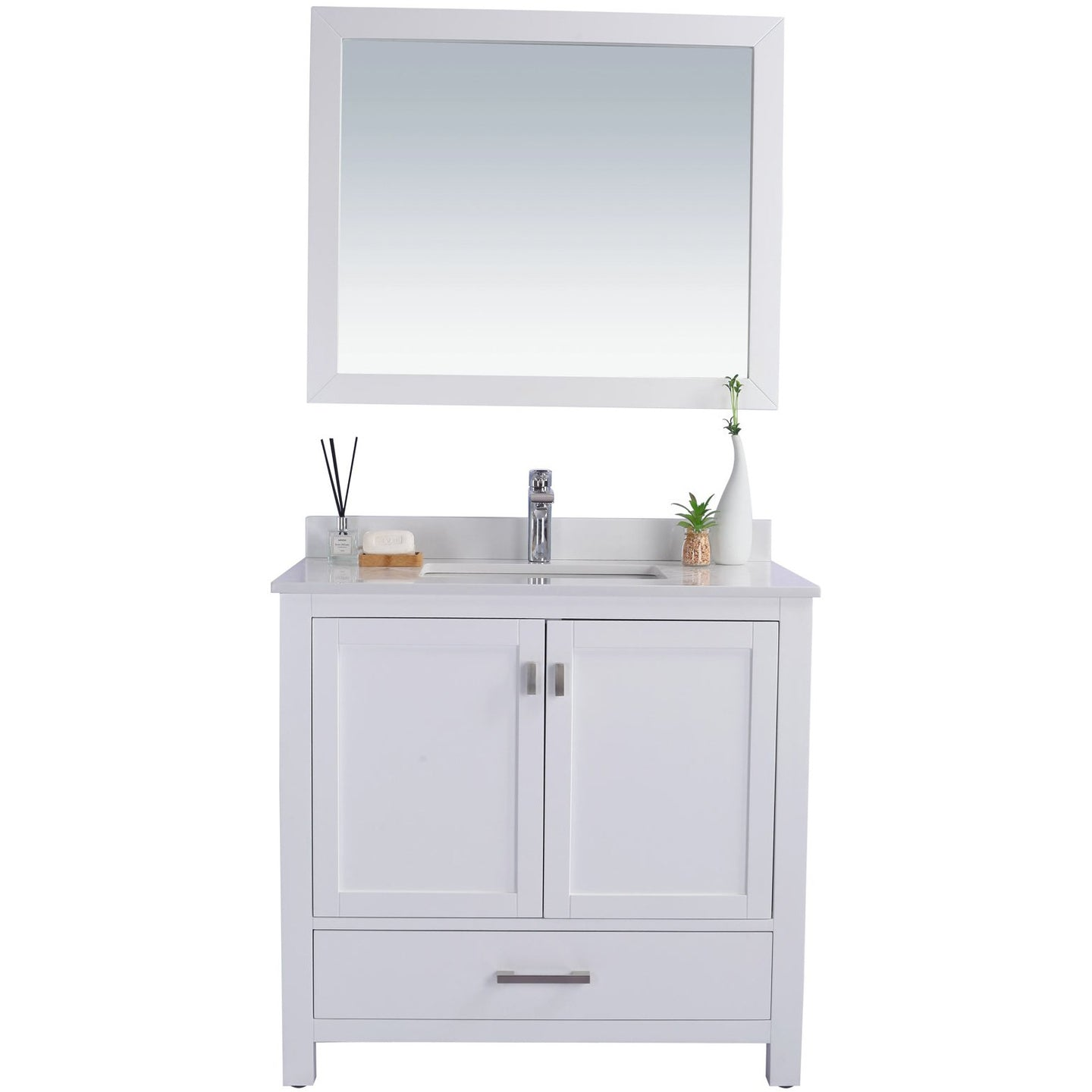 Wilson 36 - White Vanity and White Quartz Countertop by Laviva