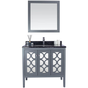 Mediterraneo - 36 - Grey Cabinet + Black Wood Counter by Laviva