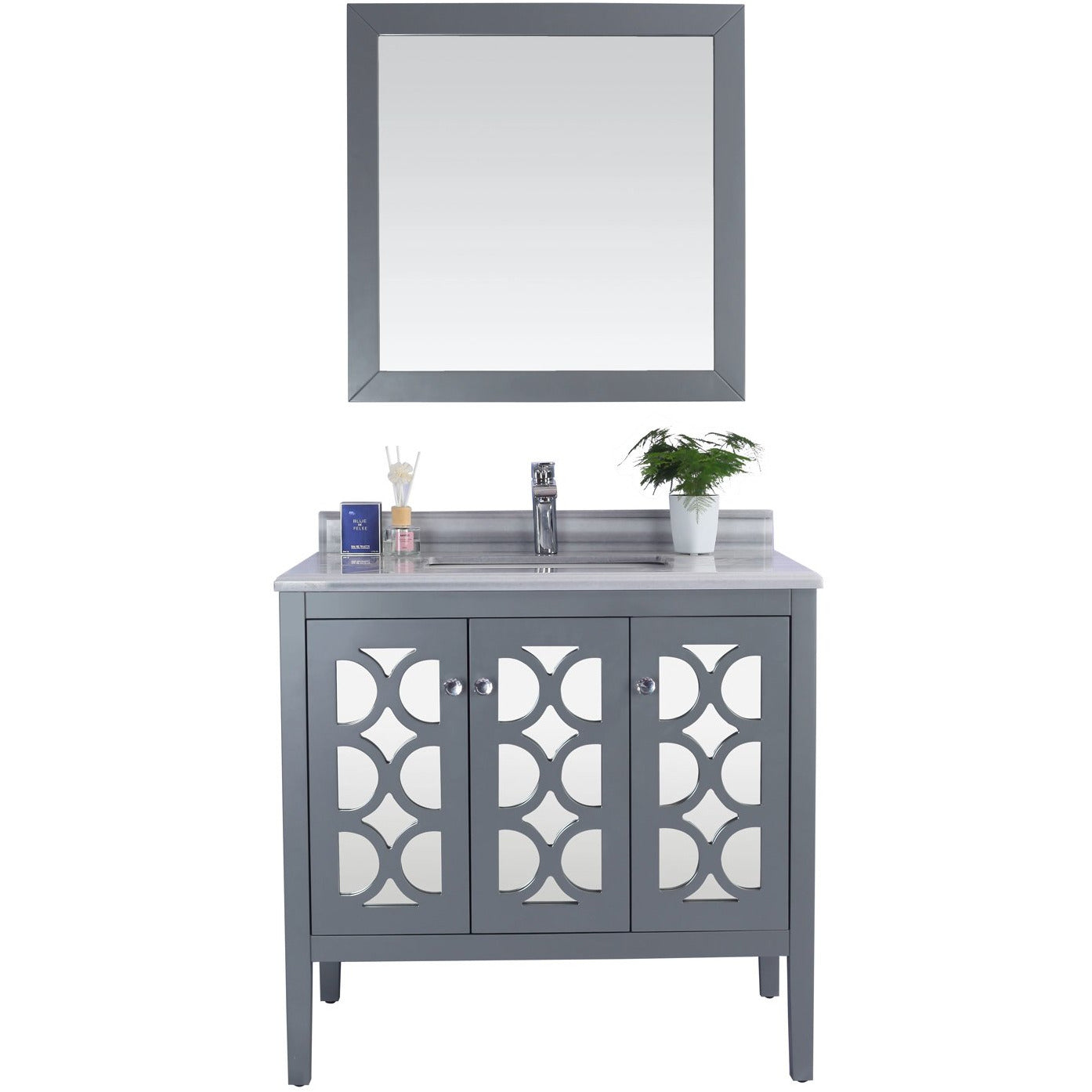 Mediterraneo - 36 - Grey Cabinet + White Stripes Counter by Laviva