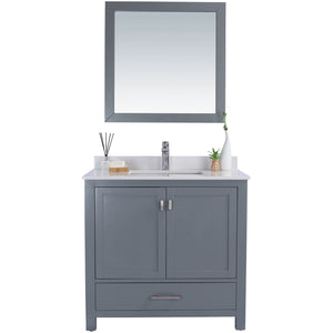 Wilson 36 - Grey Vanity and White Quartz Countertop by Laviva