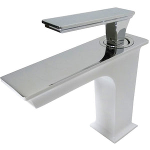 "MTD Vanities QUEEN 6"" Single Hole Single Handle Bathroom Faucet in White and Polished Chrome Finish"